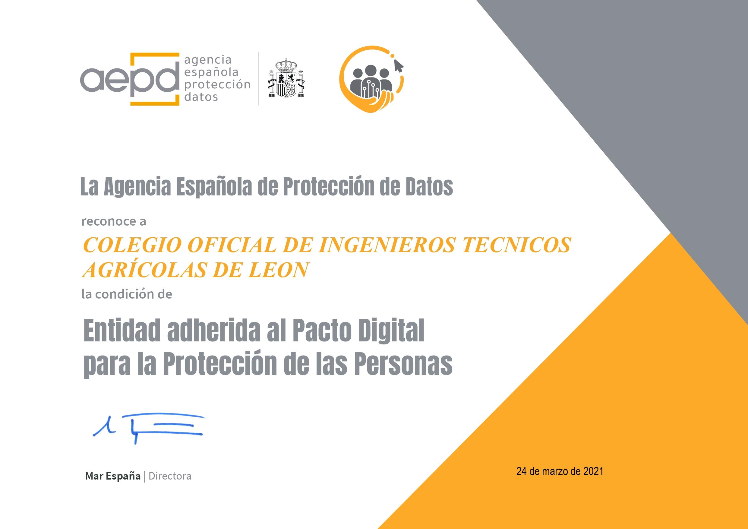 Certificado que indica que el colegio está adherido al pacto digital para la protección de las personas